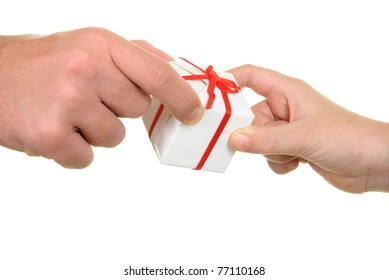 Two hands and gift on  white background