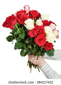 two hands giving bunch of many roses isolated on white background