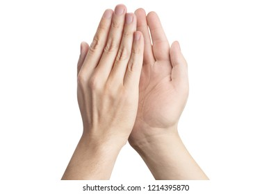 Two hands giving high five to each other, isolated on white background