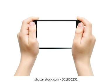 Two hands holding big fablet, playing games, clipping path