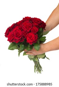 two hands holding bouquet of red roses isolated on white background