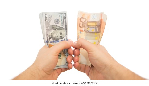two hands holding dollars and euros isolated pov