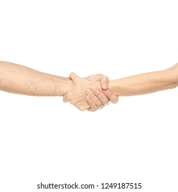 Two hands holding each other strongly on white background isolation
