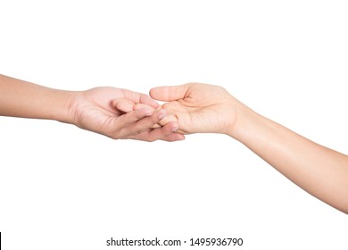 Two hands holding each other strongly on white background