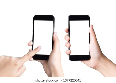 two hands holding and playing smart phones on white background with clipping path