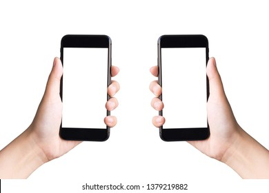 two hands holding smart phones on white background with clipping path