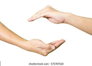 Two hands isolated created a copy space.