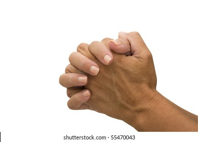 Two hands  isolated on a white background, praying