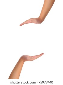 two hands isolated on white created a copy space