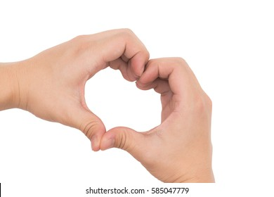 Two hands making heart shape isolated on white background