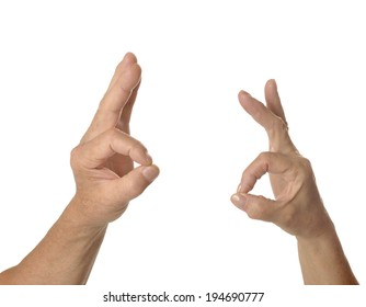 Two hands ok signs on a white background
