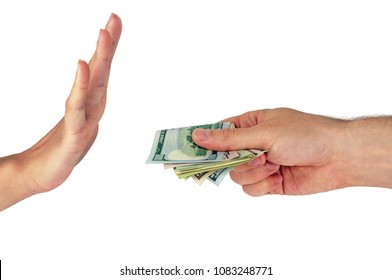 Two hands on a white background: offers money, refuses money