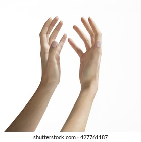 TWO HANDS OPEN , IN A HOLDING OR SHOWING POSITION