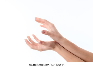 two hands pressed to each other with palms and fingers isolated on white background