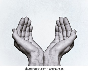 two hands recourse help on isolated background
