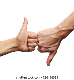 two hands showing thumb up down on white background