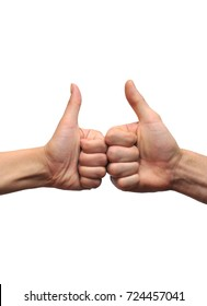 two hands showing thumbs up on white background