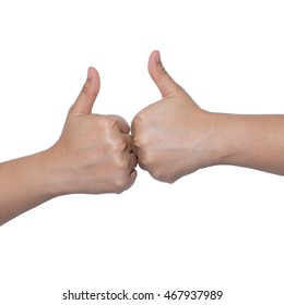 Two hands showing thumbs up sign against white background