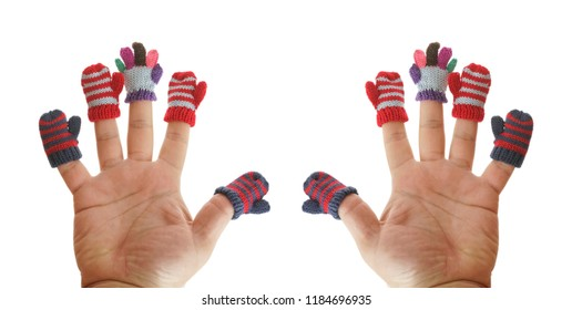 two hands. small mittens and gloves dressed on male fingers. isolated on white background. winter time season