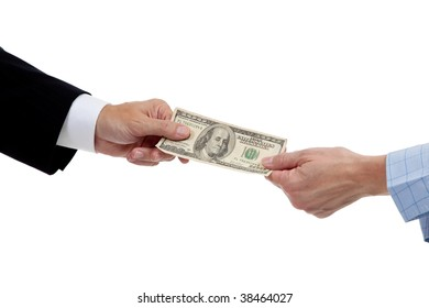 two hands stretching a dollar bill