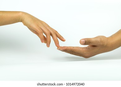 Two hands touching on white background