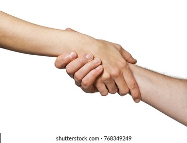 Two hands  united  in a handshake. Concept of  salvation, help, guardianship, protection, love, care etc. Image on white, isolated  background.