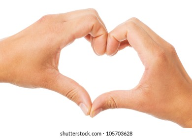 Two hands of a woman forming a heart shape over a white background