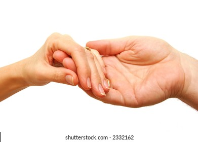 Two hands - woman and man touch each other in delicate, subtle way