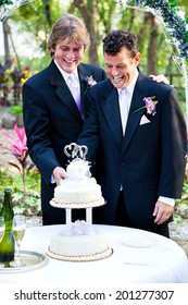 Two handsome grooms cut the cake at their gay marriage ceremony.