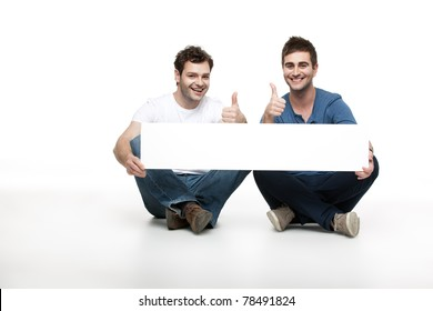two handsome men approving an ad