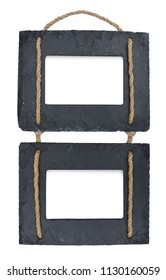 Two hanging photo frames rope stone dark grey black slate isolated on white background