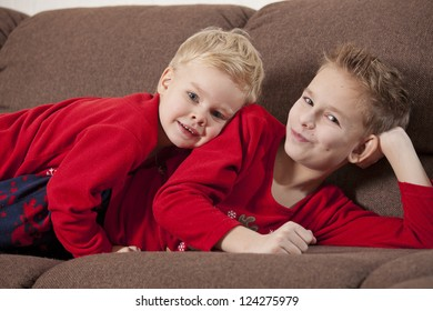 Two happy boys on the sofa