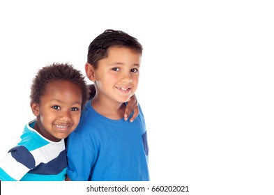Two happy brothers isolated on a white background