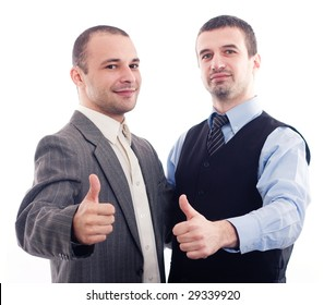 Two happy business men isolated on white