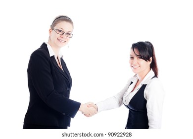 Two happy business women handshake, isolated on white background.