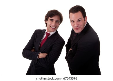 two happy businessmen, isolated on white background, studio shot
