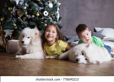 two happy children with white dogs of in the home for Christmas