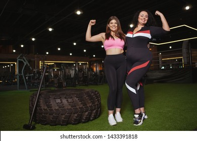 Two happy confident plus size women smiling, flexing their biceps at the gym, copy space. Happy overweight sportswomen showing their biceps to the camera. Body positive concept