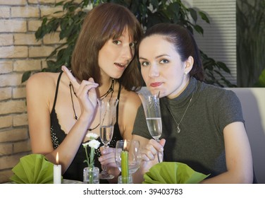 two happy female friends discussing in a restaurant