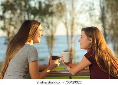 Two happy friends talking outdoors in an apartment balcony in the beach with the sea in the background