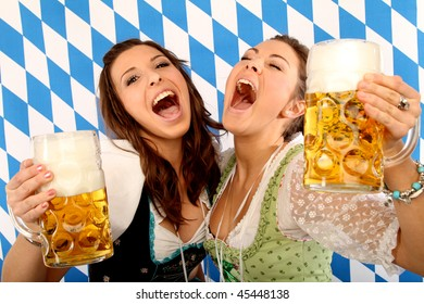 two happy girls with beer and wide open mouth