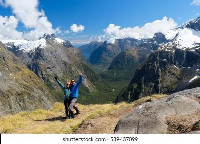 Two Happy Hikers on Gertrude Saddle.  Milford Sound, Fjordland National Park, New Zealand