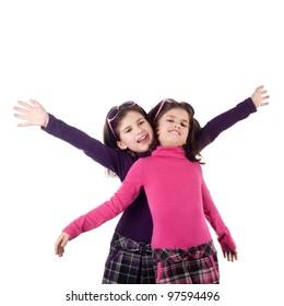 two happy little twin sisters