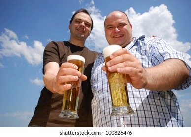 two happy man with fresh beer