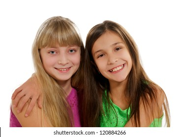 Two Happy Playmates Smiling and Hugging isolated on white background
