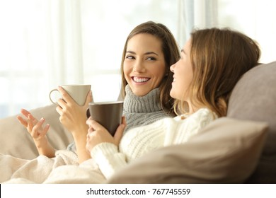 Two happy roommates talking in winter sitting on a sofa in the living room in a house interior