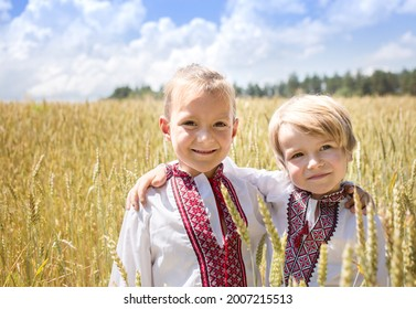 Two happy smiling boys in national Ukrainian shirts stand side by side against the background of a wheat field. pride of the country, Ukrainian nationality. Patriotic education. Independence Day