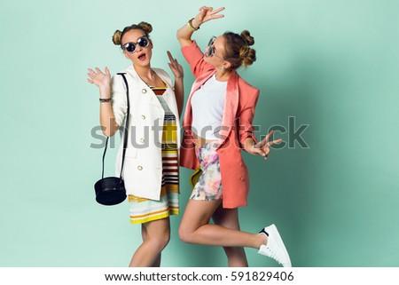 70bb94e77 Two Happy Women Best Friends Having Stock Photo (Edit Now) 591829406 ...