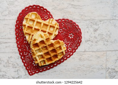 Two heart shaped waffles with copy space/Valentines day frame