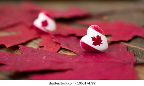 Two hearts with Canada flag over red maple leaves with wooden background. Canada day